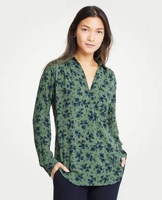 Ann Taylor Petite Alpine Floral Camp Shirt