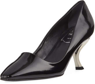 Roger Vivier Patent Leather Pump with Curved Heel