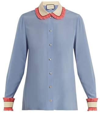 Gucci Ruffle Trimmed Silk Crepe De Chine Shirt - Womens - Blue Multi