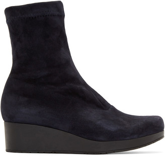 Robert Clergerie Navy Suede Nerdall Sock Boots $595 thestylecure.com