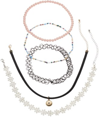 Mudd Flower, Faux Suede, Tattoo & Beaded Choker Necklace Set