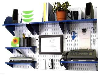 Wall Control Office Organizer Unit Wall Mounted Office Desk Storage and Organization Kit White Wall Panels and Blue Accessories