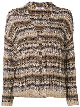 Brunello Cucinelli sequin embroidery striped cardigan