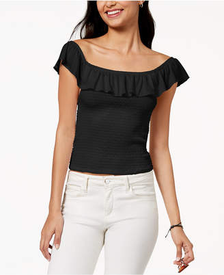 Almost Famous Juniors' Ruffle Smocked Crop Top