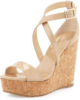 3fec347110b9 Jimmy Choo Portia Crisscross Platform Wedge Sandals