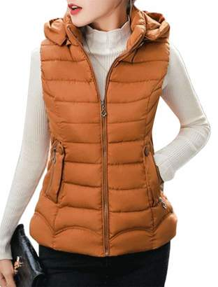e519db39a55 Etecredpow Womens Hoodie Slim Jacket Warm Outer Quilting Puffer Quilted  Winter Vest XL