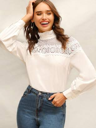 Shein Frilled High Neck Guipure Lace Yoke Blouse