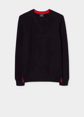 Paul Smith Men's Dark Navy Ribbed V-Neck Sweater