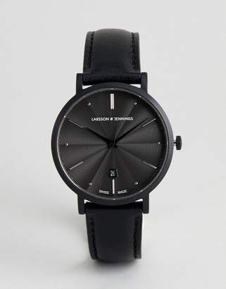 Larsson & Jennings Aurora Leather Watch In Black 38mm