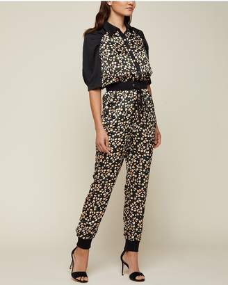 Juicy Couture Soft Focus Floral Hammered Silk Jumpsuit