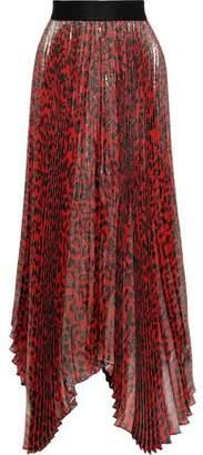 Alice + Olivia Katz Sunburst Pleated Leopard-print Silk-blend Lame Maxi Skirt