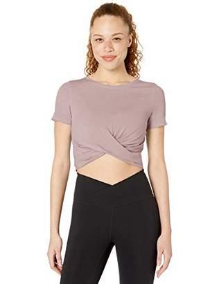 Core 10 Women's Plus Size Soft Pima Cotton Stretch Twist Front Cropped Yoga T-Shirt