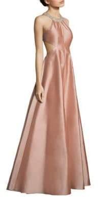 Aidan Mattox Cutout Taffeta Gown