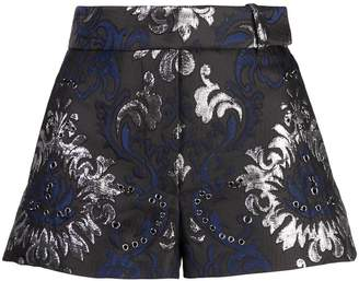 Vera Wang grommeted embroidered shorts