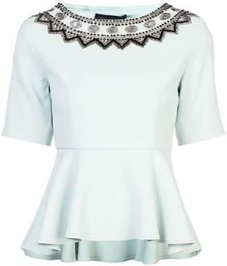 Sally LaPointe embellished neckline peplum top