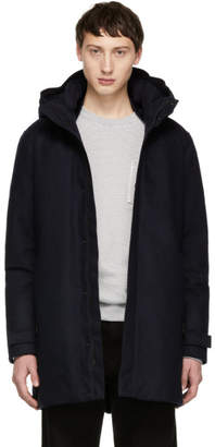 Woolrich John Rich and Bros Blue Down Tech Wool Coat