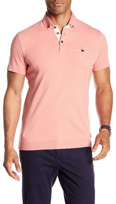 Ted Baker Ribbed Trim Button-Down Polo