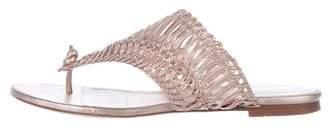 Oscar de la Renta Metallic Thong Sandals