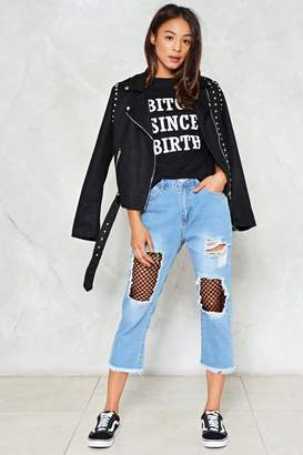 Nasty Gal Love Profusion Fishnet Jeans