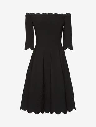 Alexander McQueen Off The Shoulder Mini Knit Dress