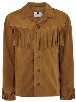 Topman Mens Brown Tan Fringed Suede Jacket