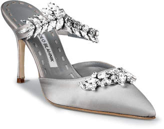 Manolo Blahnik Lurum 90 silver grey satin pumps