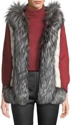 Post Card Ganesha Down-Fill Vest w/ Fur Trim & Hood