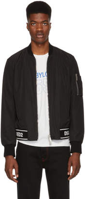 DSQUARED2 Black Logo Hem Bomber Jacket