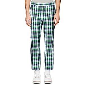 Thom Browne MEN'S CHECKED COTTON-SILK CARGO TROUSERS-LT. BLUE SIZE 1