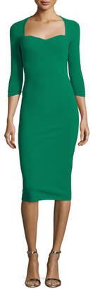 Chiara Boni Serenity 3/4-Sleeve Sweetheart Knee-Length Cocktail Dress, Green
