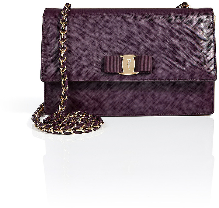 Salvatore Ferragamo Leather Two-Tone Ginny Crossbody Bag