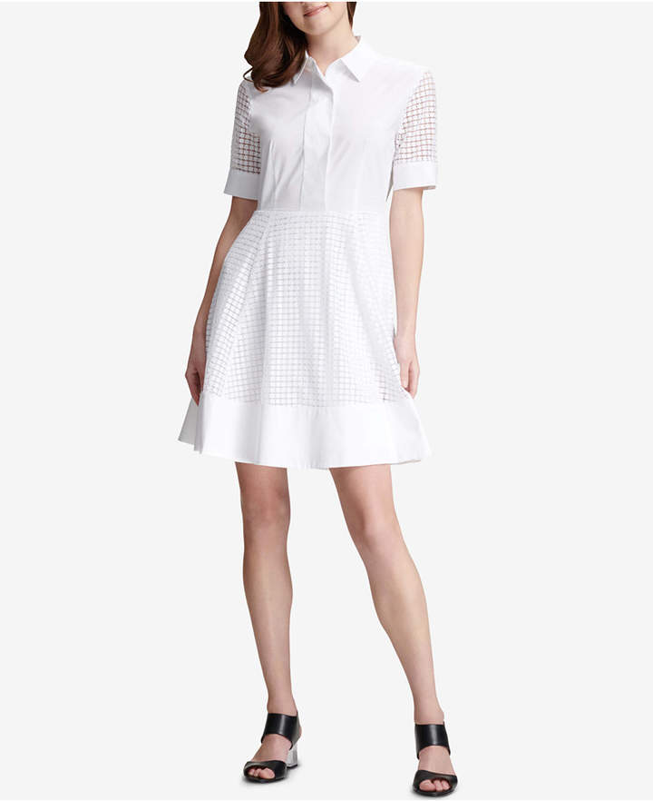 Dkny Eyelet Fit & Flare Dress, Created for Macy's