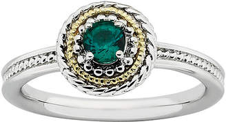 JCPenney FINE JEWELRY Personally Stackable Two-Tone Lab-Created Emerald Ring