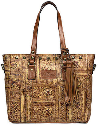 Patricia Nash Venetian Tooled Collection Gava Tasseled Studded Tote $199 thestylecure.com