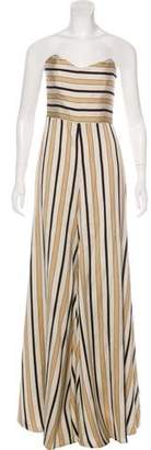 Caroline Constas Strapless Striped Jumpsuit