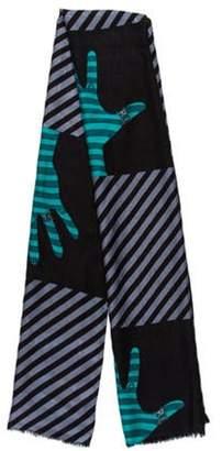 Bvlgari Striped Silk & Wool Blend Scarf blue Striped Silk & Wool Blend Scarf