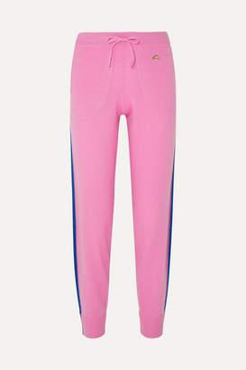 Bella Freud Daytona Sparkle Metallic Striped Cashmere-blend Track Pants - Pink