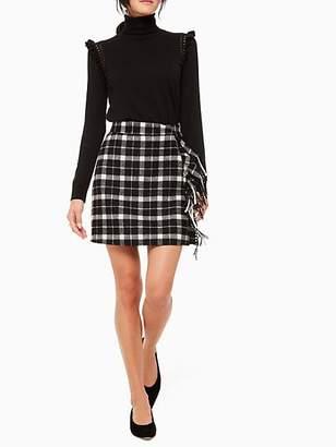 Kate Spade Rustic Plaid Fringe Skirt, Black - Size 10