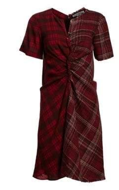 Acne Studios Plaid Contrast Ruched Dress