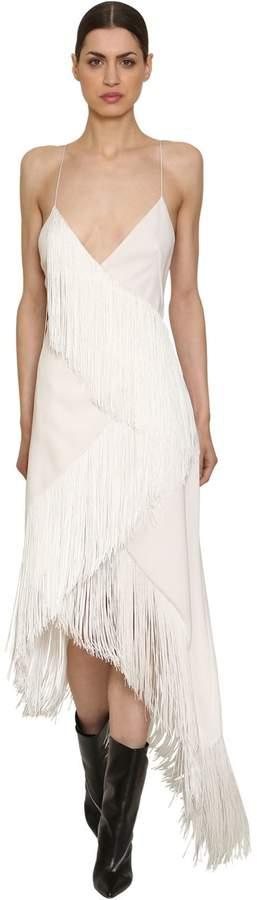 Wool Crepe Fringed Dress