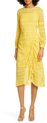 Ted Baker Safa Long Sleeve Ruched Burnout Lace Dress