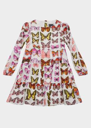 Versace Butterfly Print Long Sleeve Silk Dress