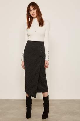d84bb257ef Mint Velvet Womens Black Leopard Jacquard Skirt - Black