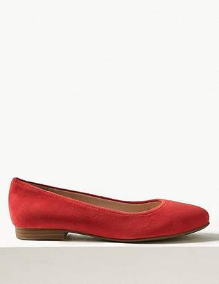 Marks and Spencer Wide Fit Suede Ballet Pumps
