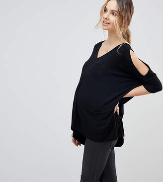 Asos Design Maternity Oversized Cold Shoulder Top With Asymmetric Hem In Black