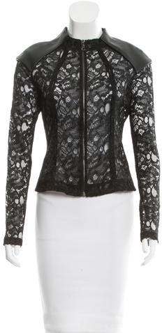 AlexisAlexis Lace Vegan Leather-Accented Jacket