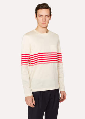 Paul Smith Men's Slim-Fit Ecru Long-Sleeve T-Shirt With Red Stripes