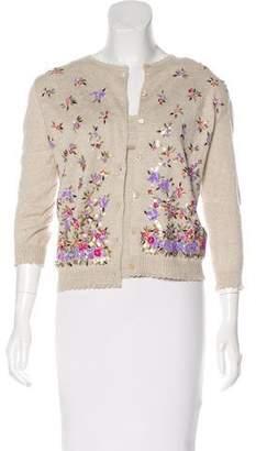 Valentino Embellished Linen-Blend Cardigan Set