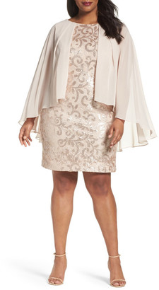 Alex Evenings Chiffon Overlay Sequin Lace Sheath Dress (Plus Size) $189 thestylecure.com