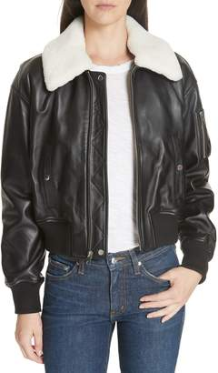 Derek Lam 10 Crosby Cropped Leather Flight Jacket with Genuine Shearling Removable Trim